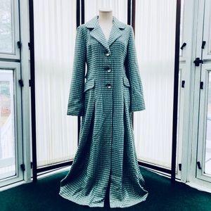Kenzie Green Tweed Coat Long Duster Wool Blend